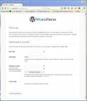 WordPress new install config screen